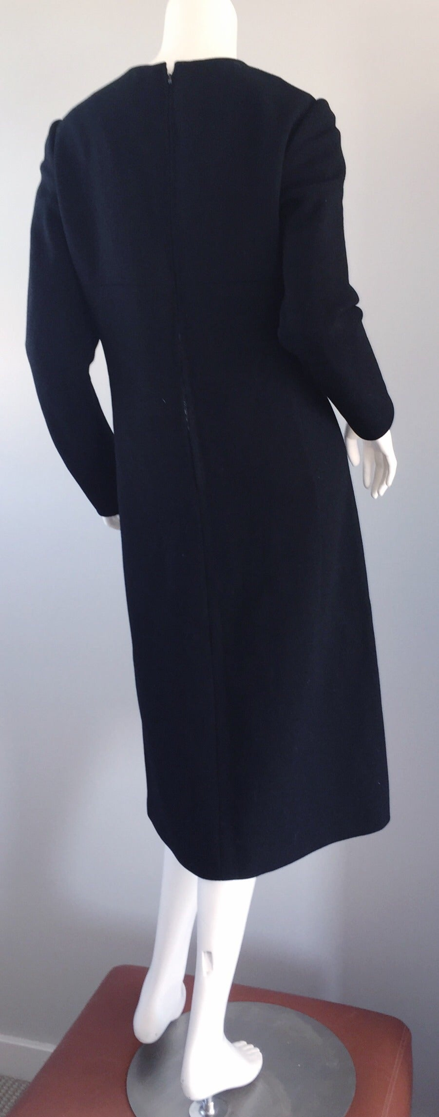 Iconic Vintage Pierre Cardin 1960s 60s Black Wool Cut - Out Dress w/ Bow For Sale 2