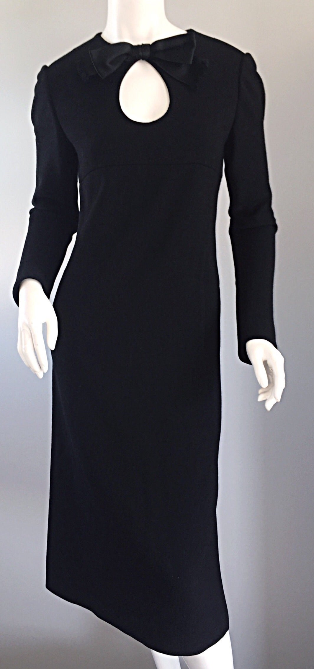 Iconic Vintage Pierre Cardin 1960s 60s Black Wool Cut - Out Dress w/ Bow For Sale 3