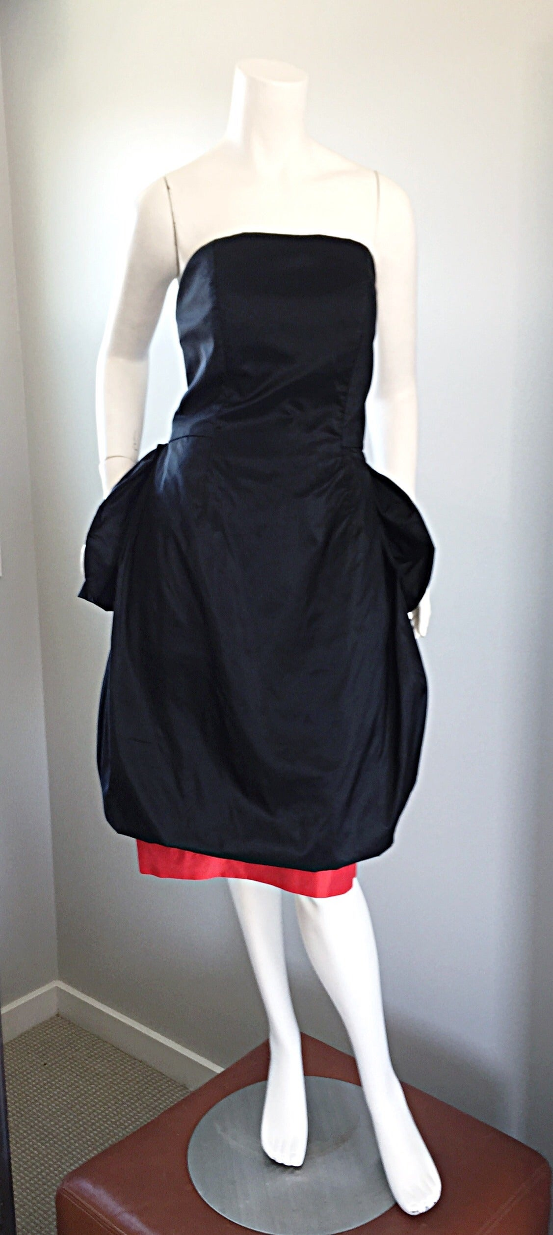 Rare Vintage Adam Beall Black + Red Strapless Silk ' Pouf ' Dress 4