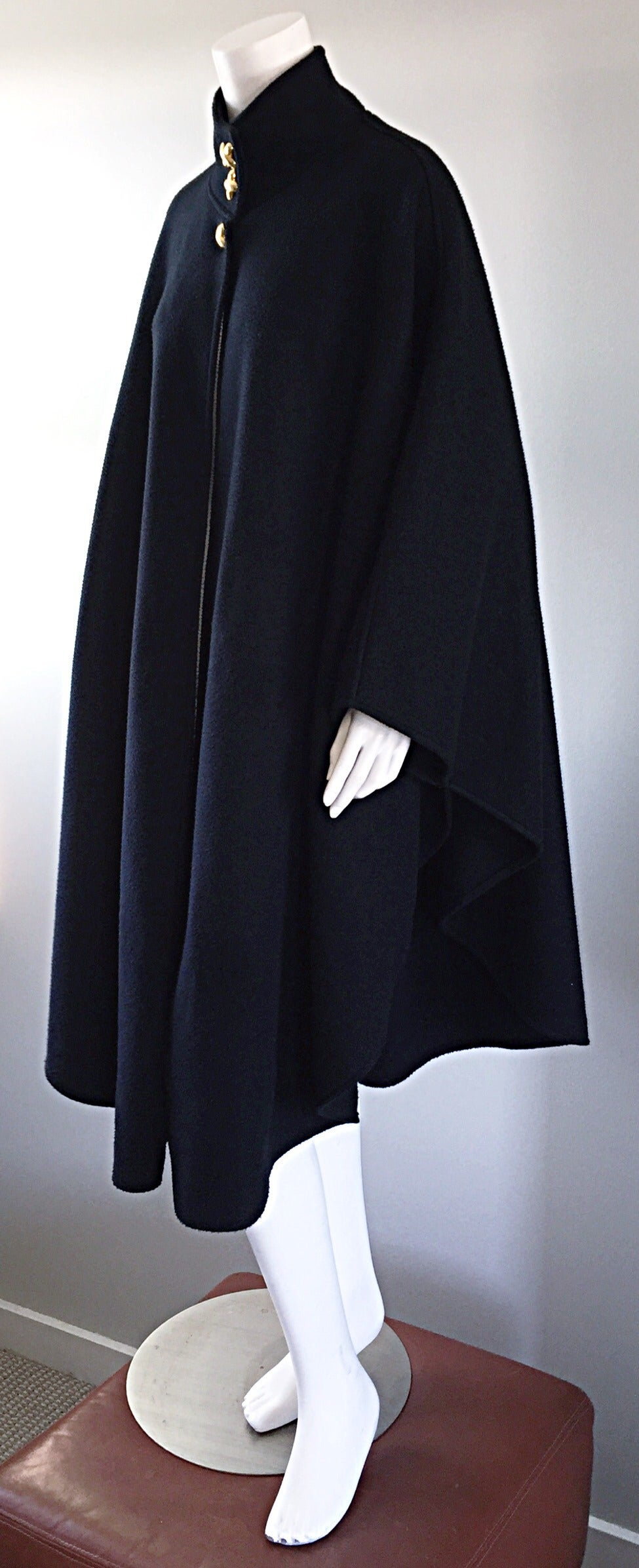 Vintage Lord & Taylor Black Fleece Cape Jacket w/ Gold ' Picasso ' Buttons In Excellent Condition For Sale In San Francisco, CA