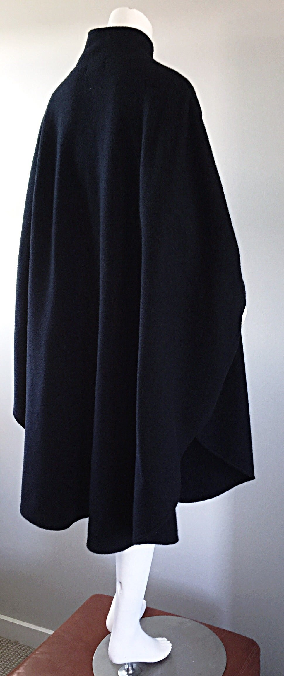 Vintage Lord & Taylor Black Fleece Cape Jacket w/ Gold ' Picasso ' Buttons For Sale 2