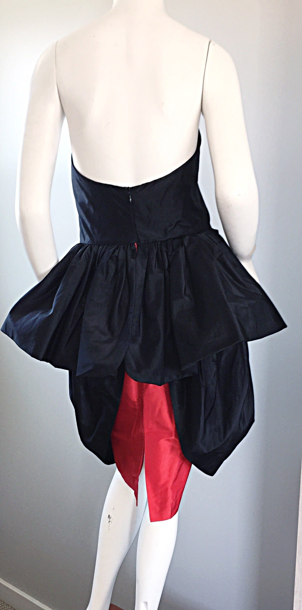 Rare Vintage Adam Beall Black + Red Strapless Silk ' Pouf ' Dress 5