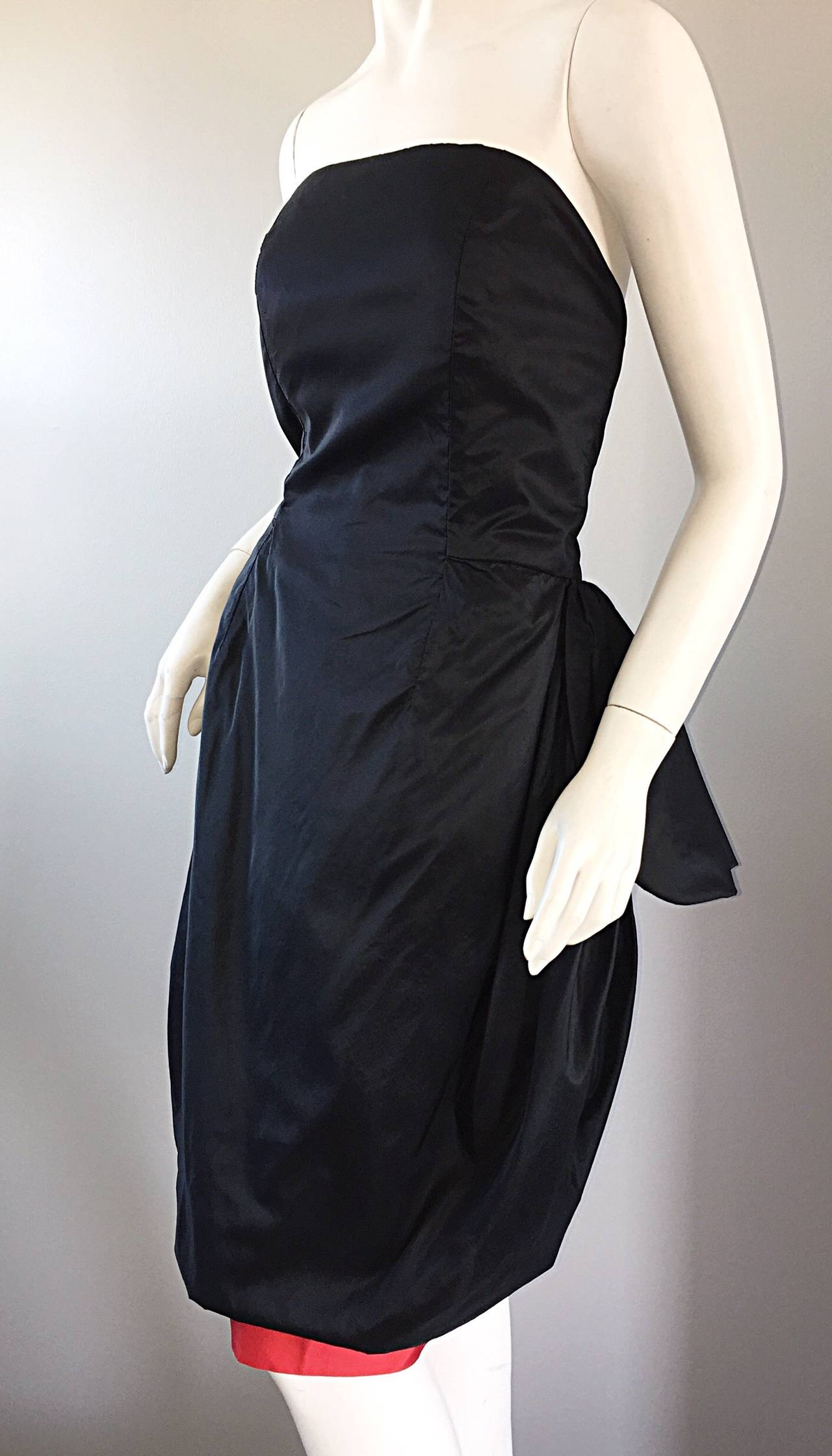Rare Vintage Adam Beall Black + Red Strapless Silk ' Pouf ' Dress 6