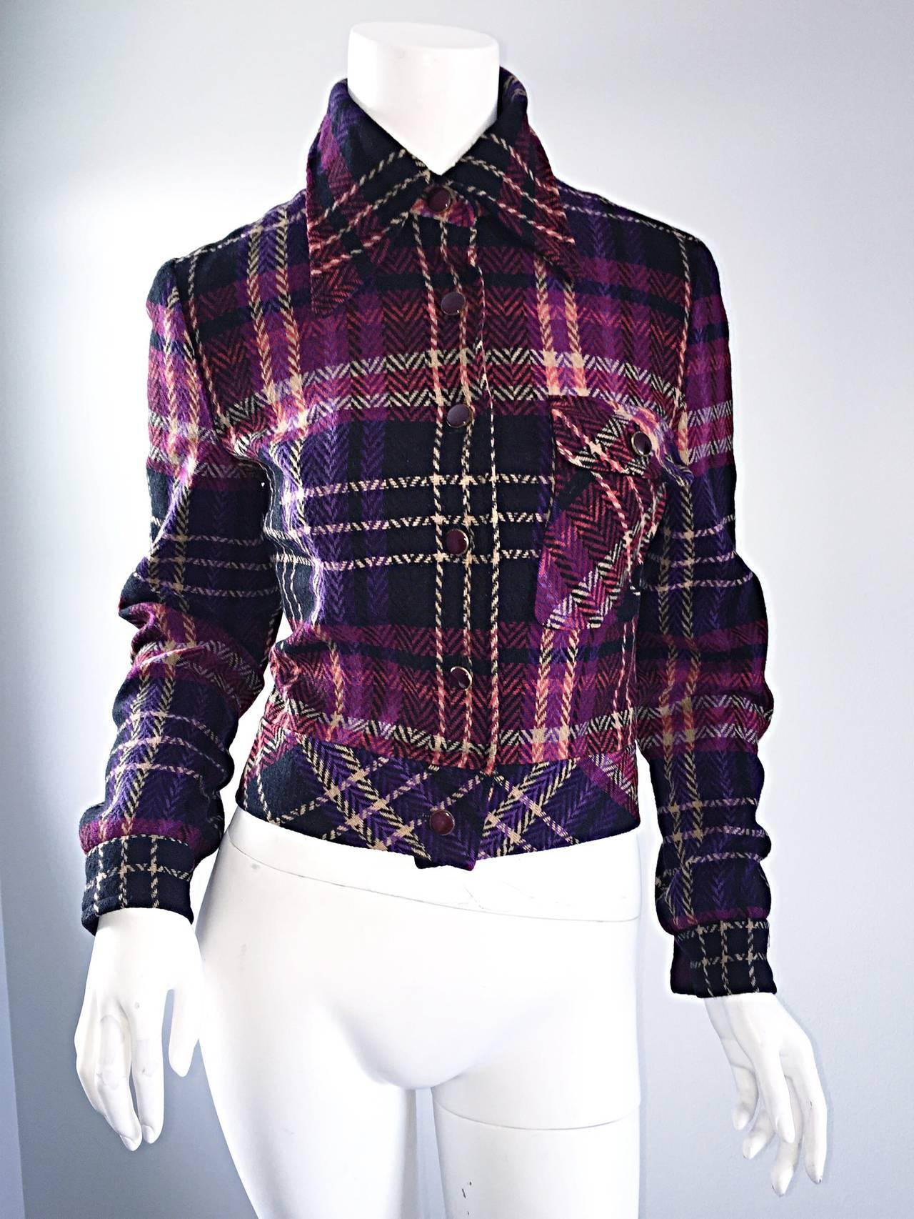 1970s Vintage Addena for I. Magnin Pink + Purple Plaid Herringbone Wool Jacket 2
