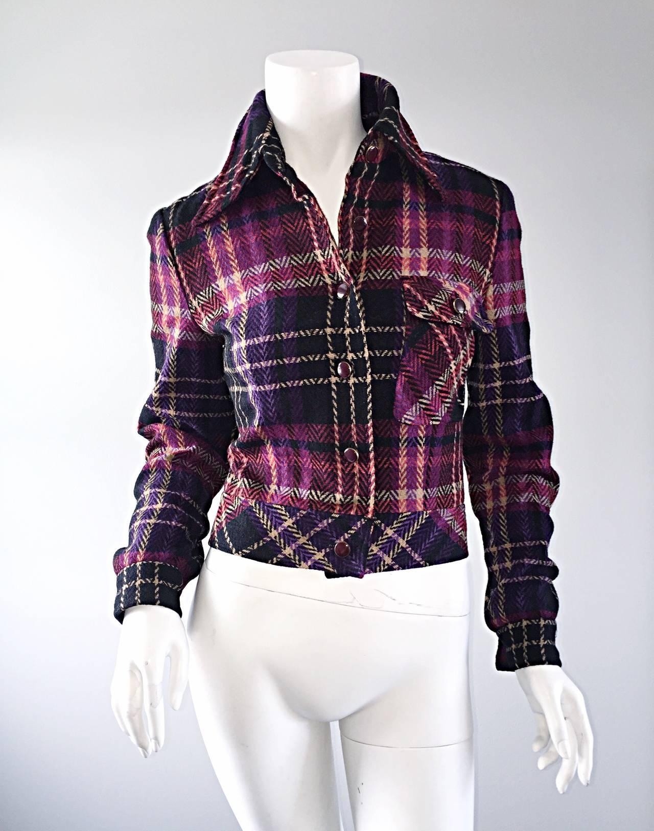 1970s Vintage Addena for I. Magnin Pink + Purple Plaid Herringbone Wool Jacket 3