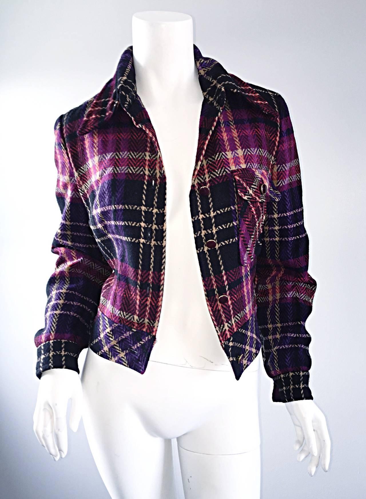 1970s Vintage Addena for I. Magnin Pink + Purple Plaid Herringbone Wool Jacket 4