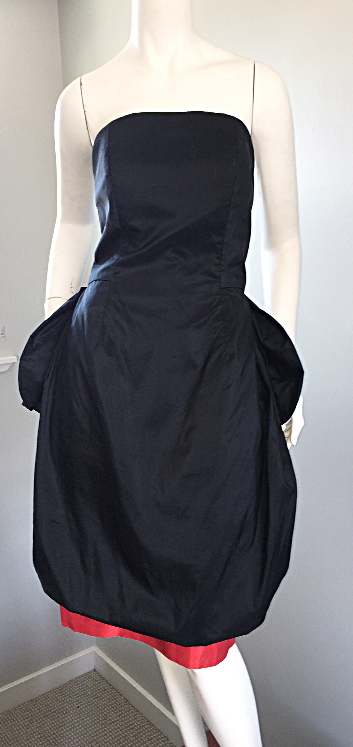 Rare Vintage Adam Beall Black + Red Strapless Silk ' Pouf ' Dress 7
