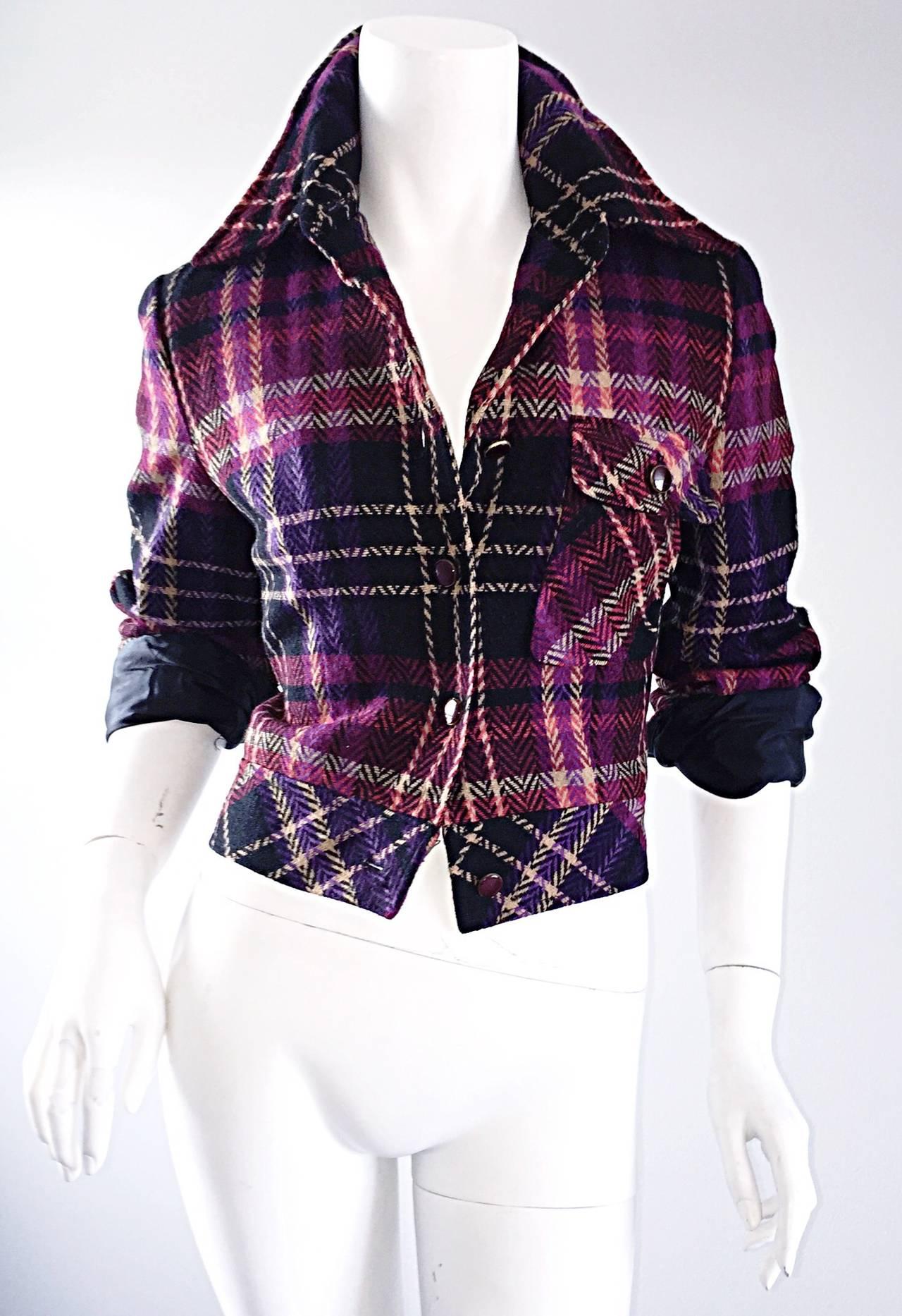 1970s Vintage Addena for I. Magnin Pink + Purple Plaid Herringbone Wool Jacket 5