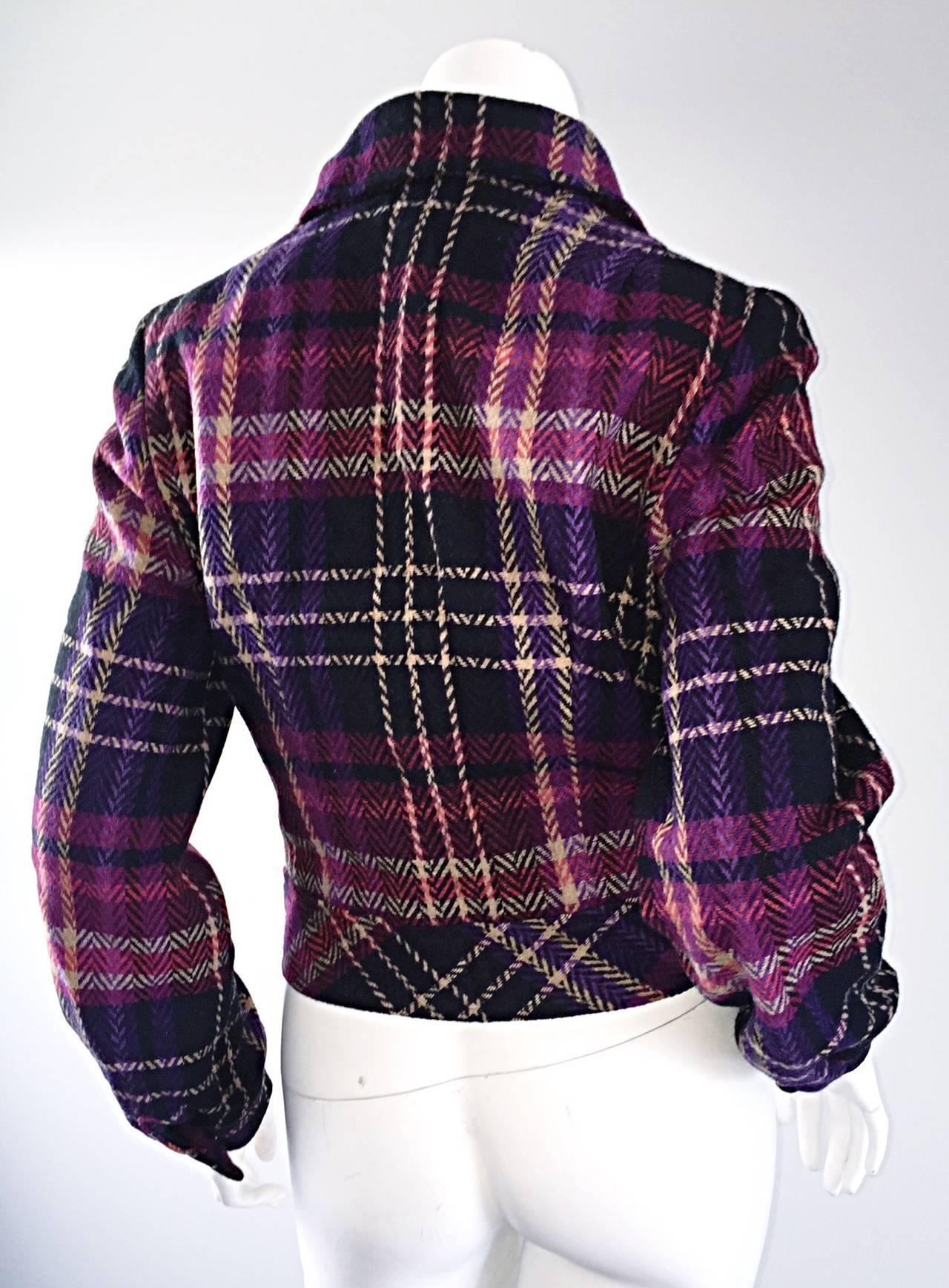 1970s Vintage Addena for I. Magnin Pink + Purple Plaid Herringbone Wool Jacket 6