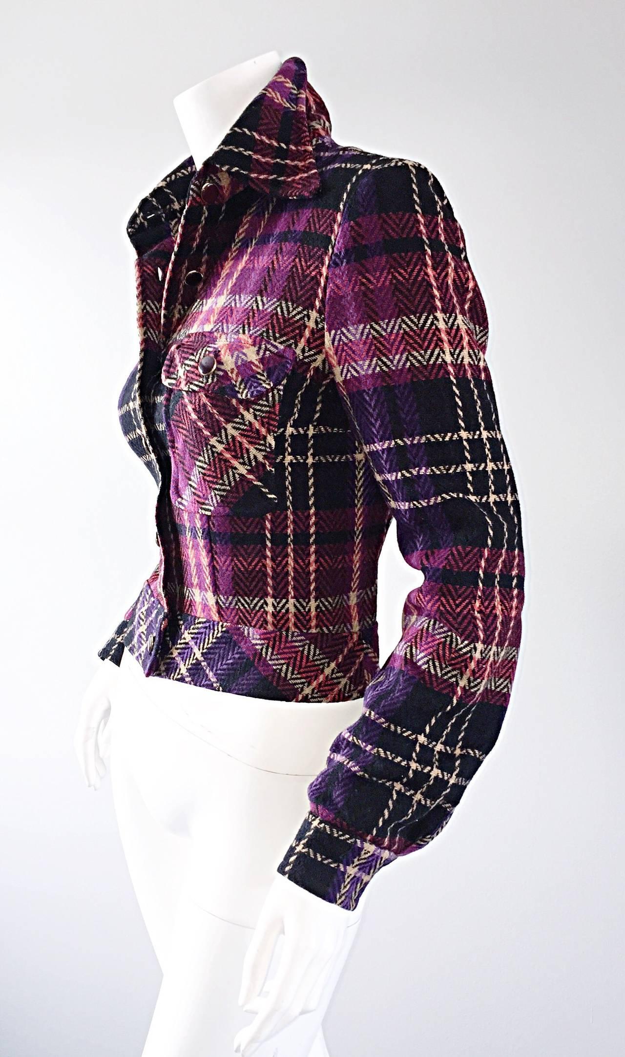 1970s Vintage Addena for I. Magnin Pink + Purple Plaid Herringbone Wool Jacket 7