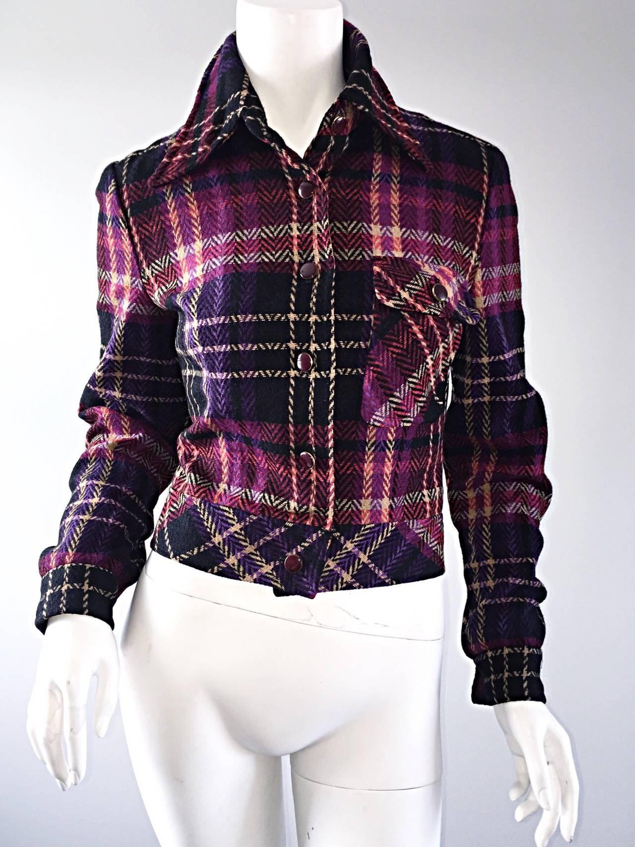 1970s Vintage Addena for I. Magnin Pink + Purple Plaid Herringbone Wool Jacket 8