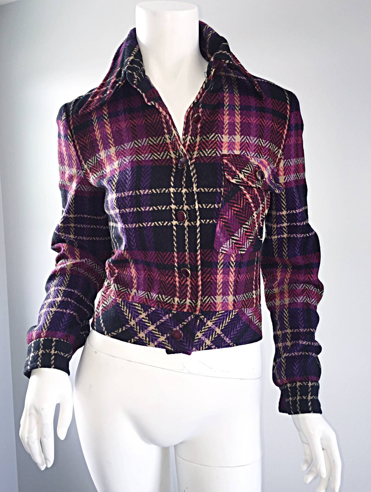 1970s Vintage Addena for I. Magnin Pink + Purple Plaid Herringbone Wool Jacket 9