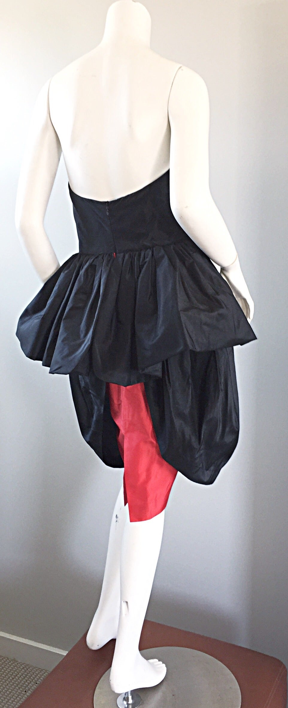 Rare Vintage Adam Beall Black + Red Strapless Silk ' Pouf ' Dress 8