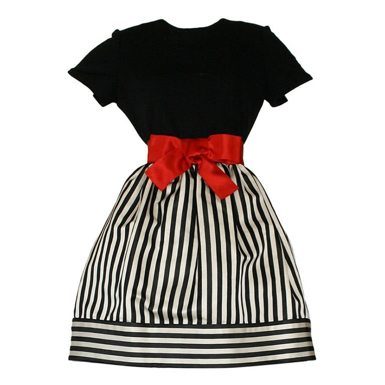 Bill Blass Vintage Black & White Stripe Dress w/ Red Bow Belt For Sale