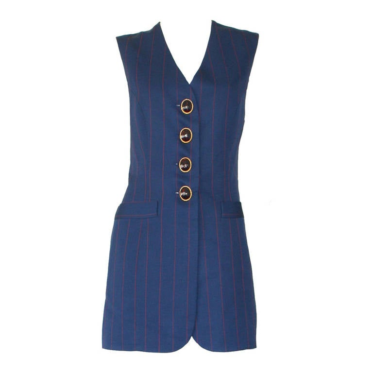 Christian Dior Haute Couture Vintage Navy Red Pinstripe Waistcoat Dress