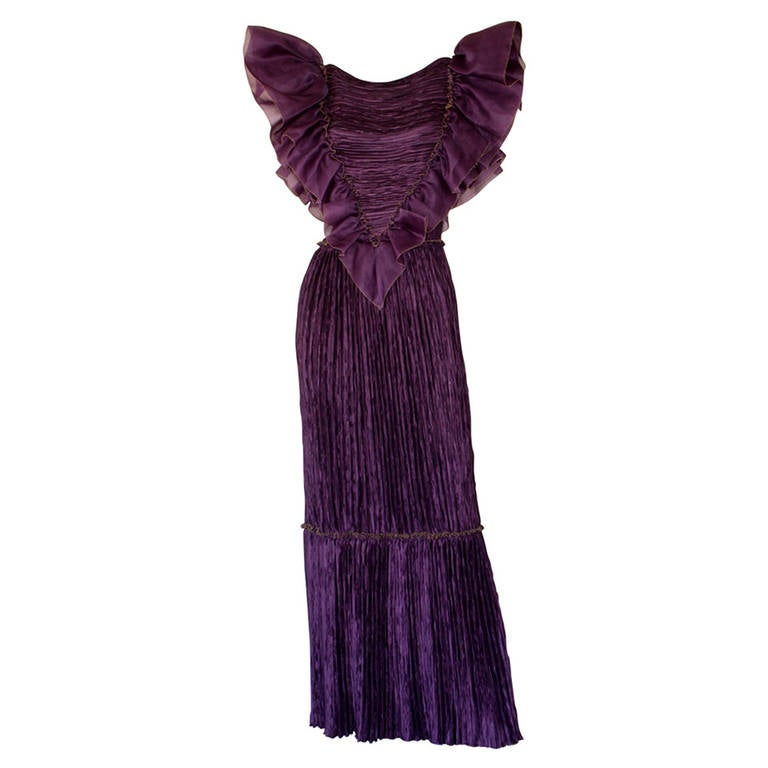 Mary McFadden Couture Vintage Regal Pleated Origami Purple Gown Avant Garde 1