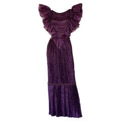 Mary McFadden Couture Vintage Regal Pleated Origami Purple Gown Avant Garde