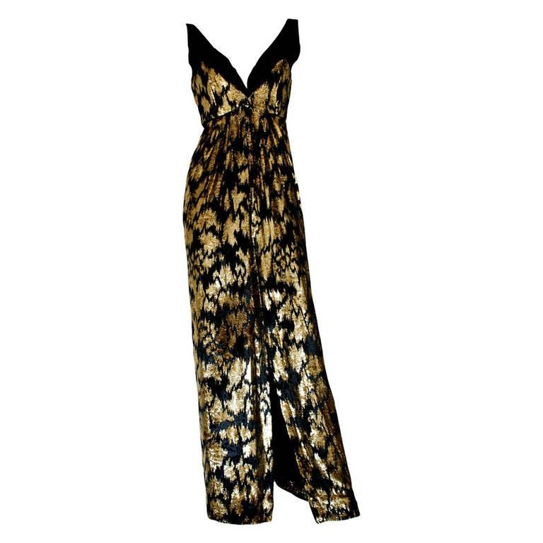 Richilene Vintage Black And Gold Velvet Gown At 1stdibs