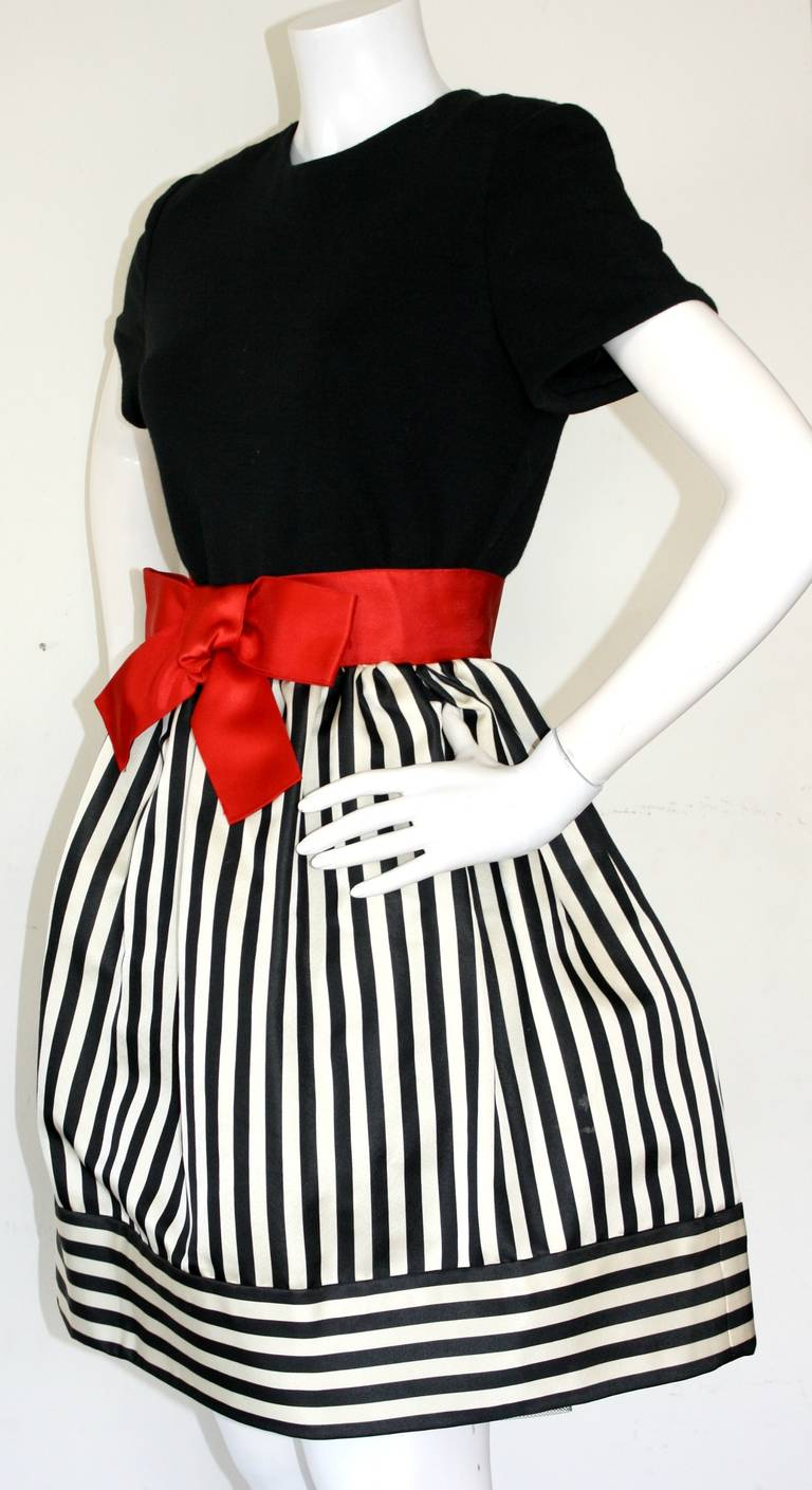 Bill Blass Vintage Black & White Stripe Dress w/ Red Bow Belt 3