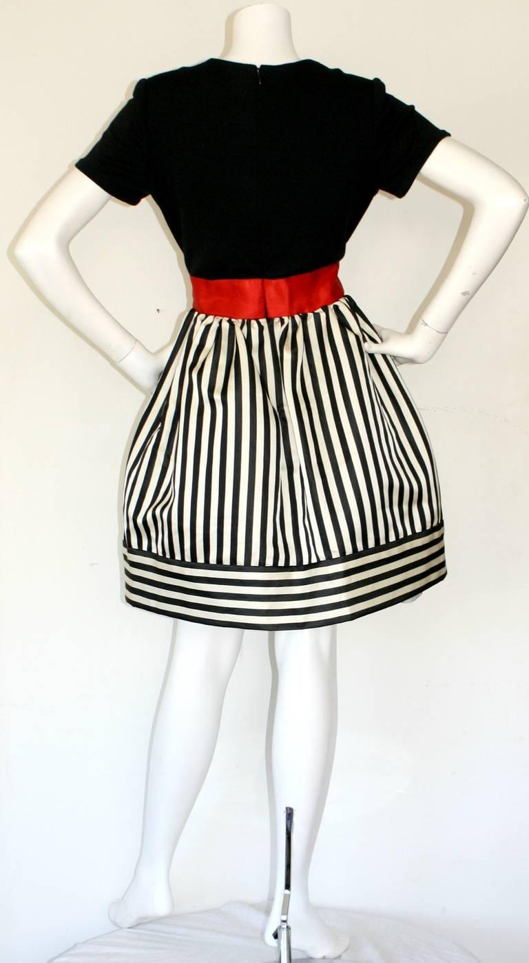 Bill Blass Vintage Black & White Stripe Dress w/ Red Bow Belt For Sale 1