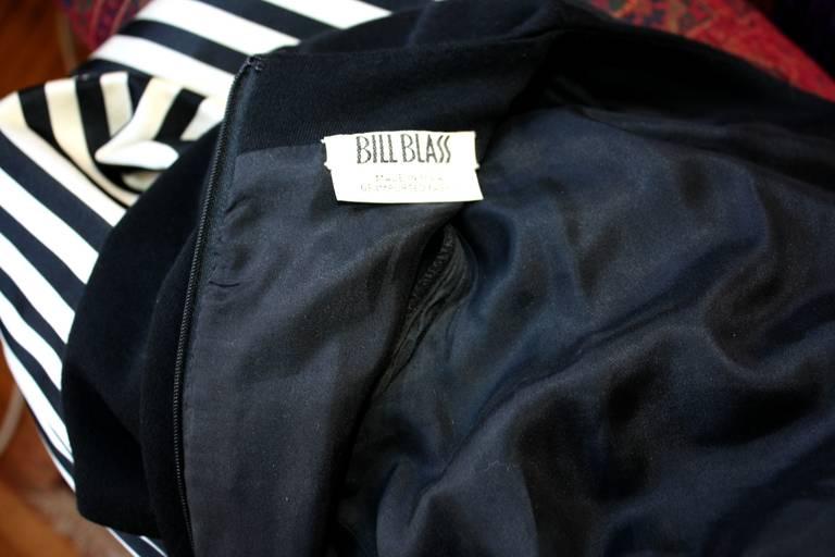 Bill Blass Vintage Black & White Stripe Dress w/ Red Bow Belt For Sale 4