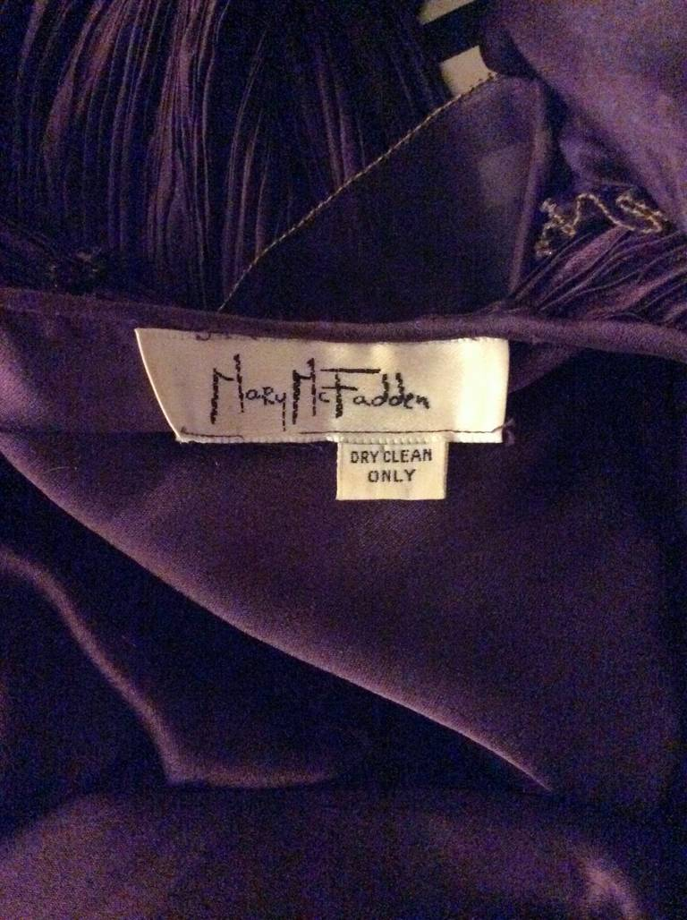 Mary McFadden Couture Vintage Regal Pleated Origami Purple Gown Avant Garde 7