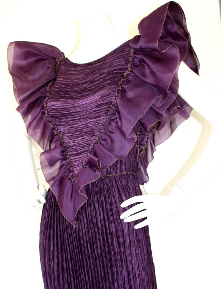 Mary McFadden Couture Vintage Regal Pleated Origami Purple Gown Avant Garde 6