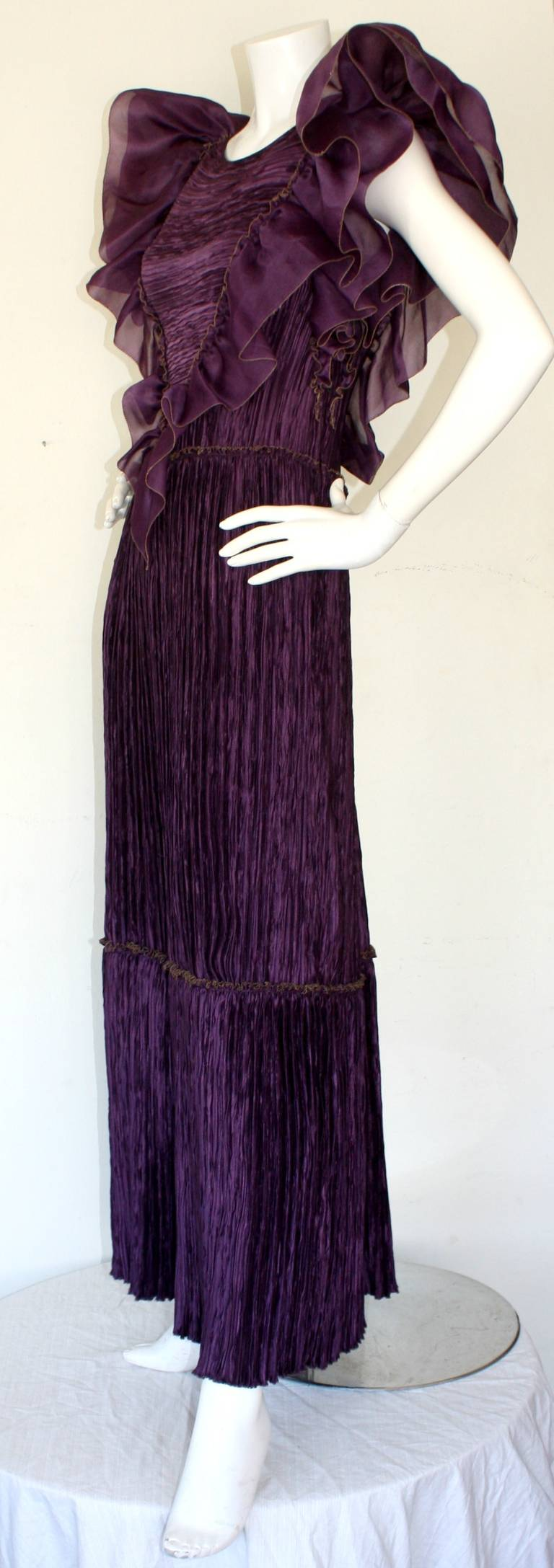Mary McFadden Couture Vintage Regal Pleated Origami Purple Gown Avant Garde 2