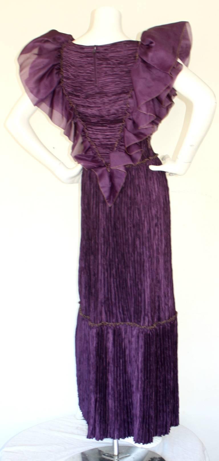 Mary McFadden Couture Vintage Regal Pleated Origami Purple Gown Avant Garde 4