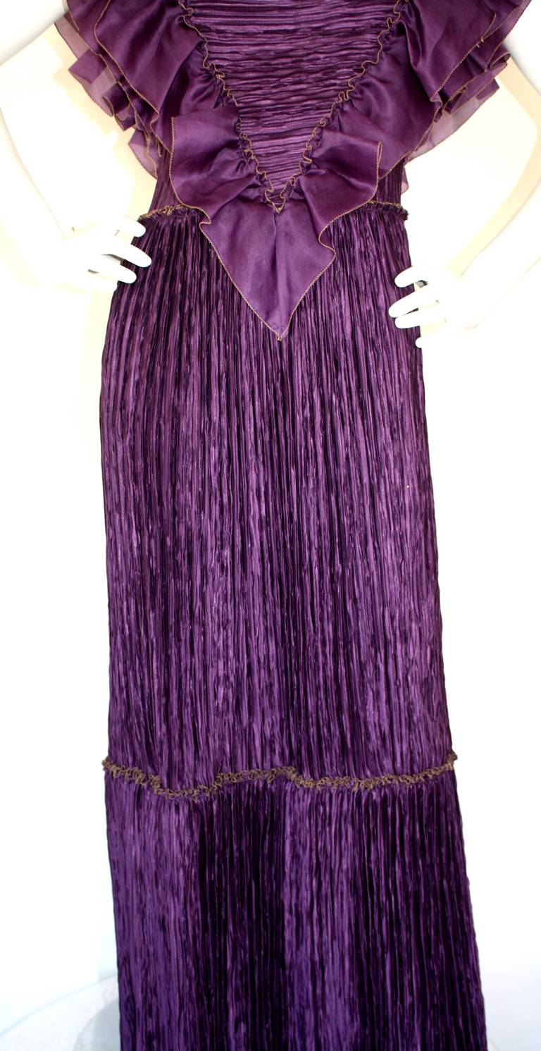 Mary McFadden Couture Vintage Regal Pleated Origami Purple Gown Avant Garde 5