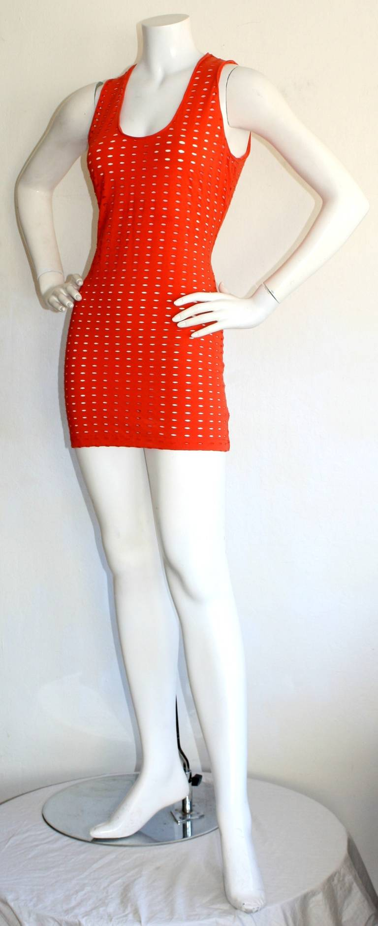 Gianni Versace Couture Vintage Red Cut - Out Dress 1990s Pre - Death 2