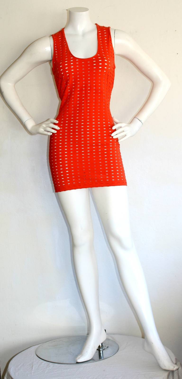 Gianni Versace Couture Vintage Red Cut - Out Dress 1990s Pre - Death 6