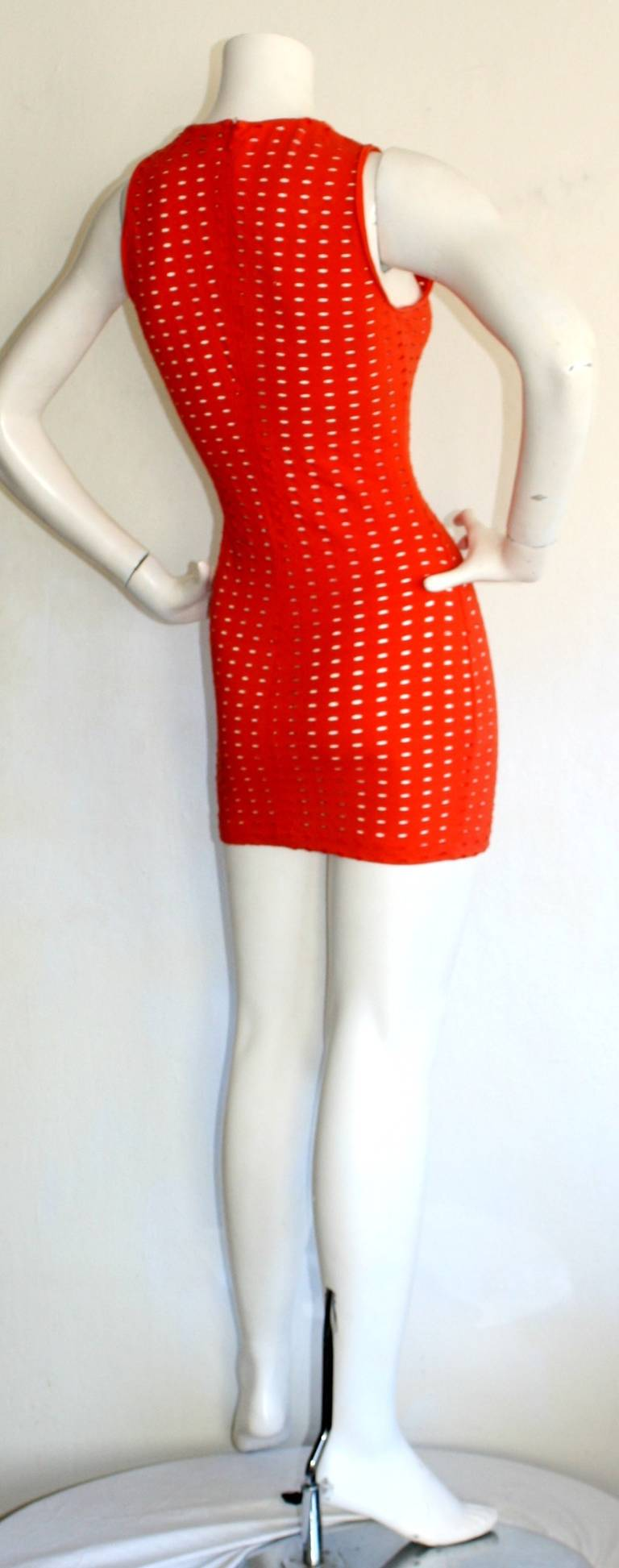 Gianni Versace Couture Vintage Red Cut - Out Dress 1990s Pre - Death 5