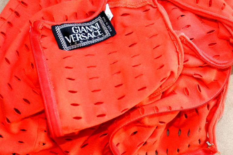 Gianni Versace Couture Vintage Red Cut - Out Dress 1990s Pre - Death 7
