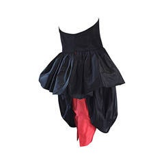 Rare Vintage Adam Beall Black + Red Strapless Silk ' Pouf ' Dress