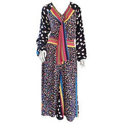 Chic Vintage 1980s Op - Art Colorful Multi - Print Boho / Bohemian Dress