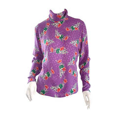 "Vintage Emanuel Ungaro Silk Blouse "" Bouquet of Flowers ' Polka Dot Top"