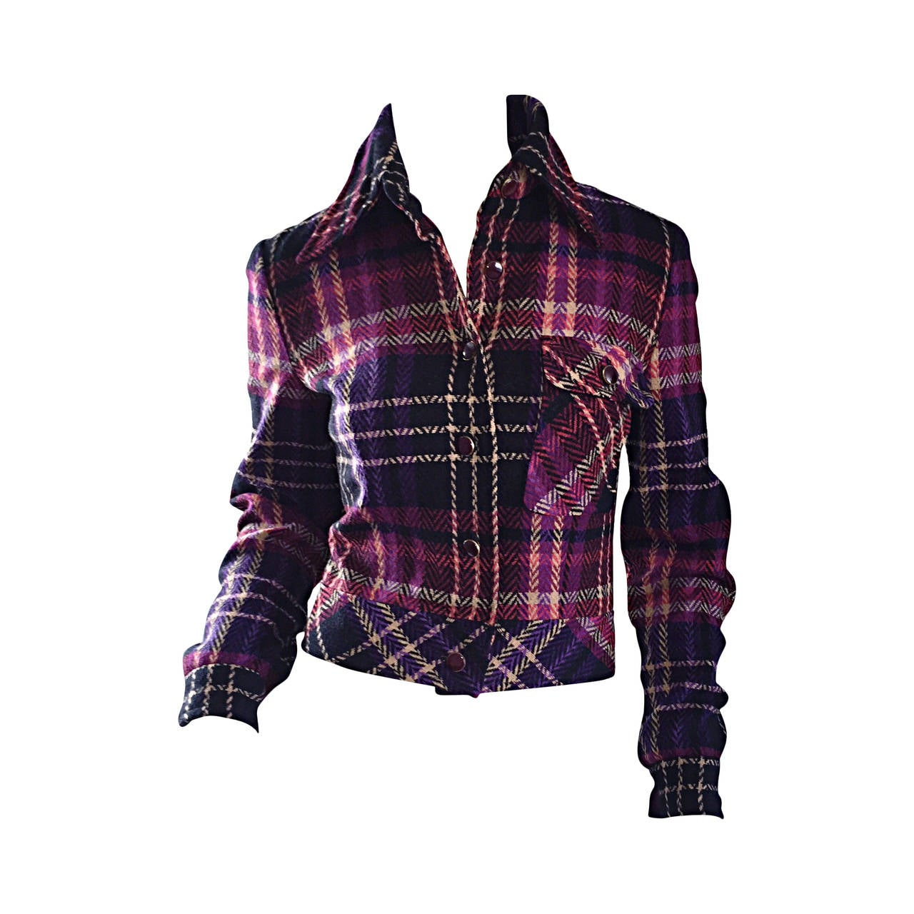 1970s Vintage Addena for I. Magnin Pink + Purple Plaid Herringbone Wool Jacket 1