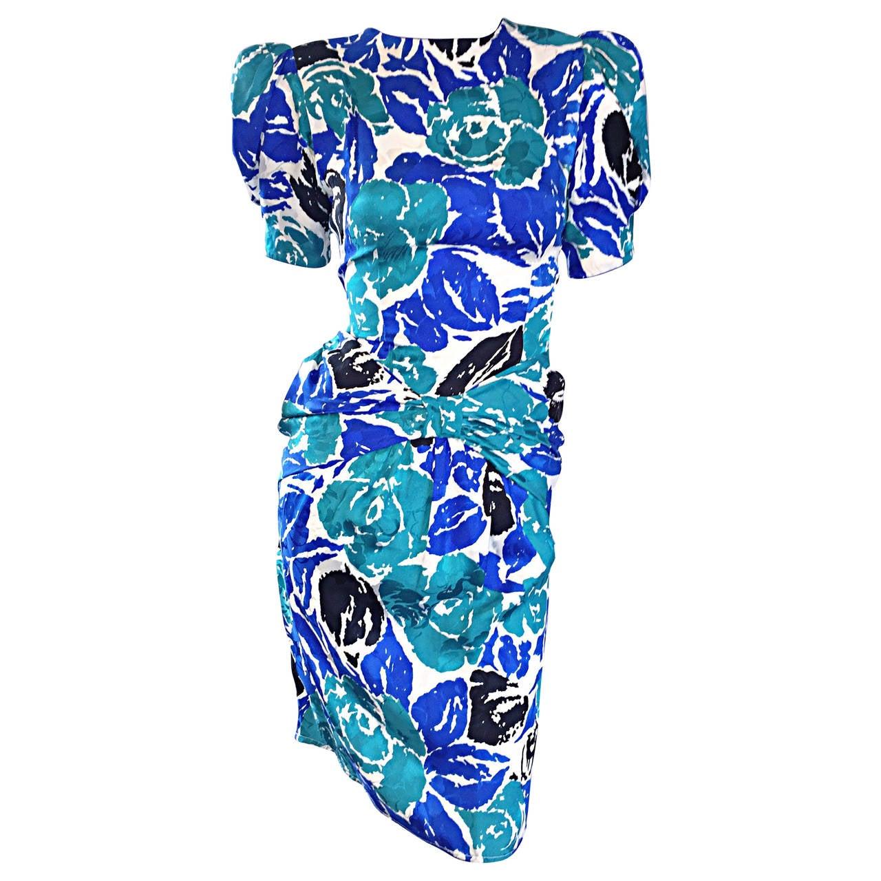 Vintage Flora Kung Blue Teal Black Flowers Silk Ruched Dress For