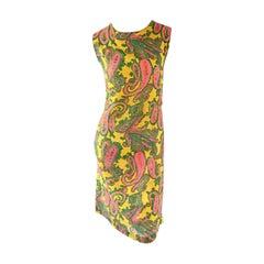 1960s Yellow  Large Size Pink Green Paisley Mod Retro Vintage Cotton Shift Dress
