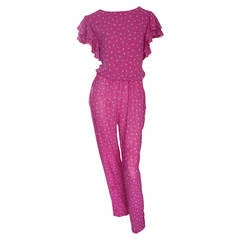 Incredible Vintage Pink Boho Jumpsuit, w/ Ruffles + Flowers / Roses
