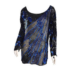 Black + Blue Sequined and Beaded Silk Fireworks & Flowers Top Attr. to Halston