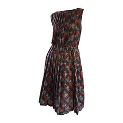 1950s Autumnal 3 - D Checkered Plaid Pleated 50s Cotton Vintage Dress
