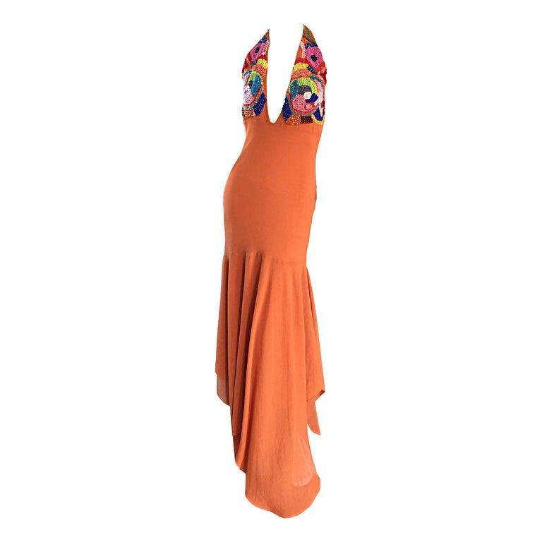 Sexy 1990s Silk Crepe Orange Mermaid Gown 90s Vintage Maxi Dress Vibrant Beading For Sale