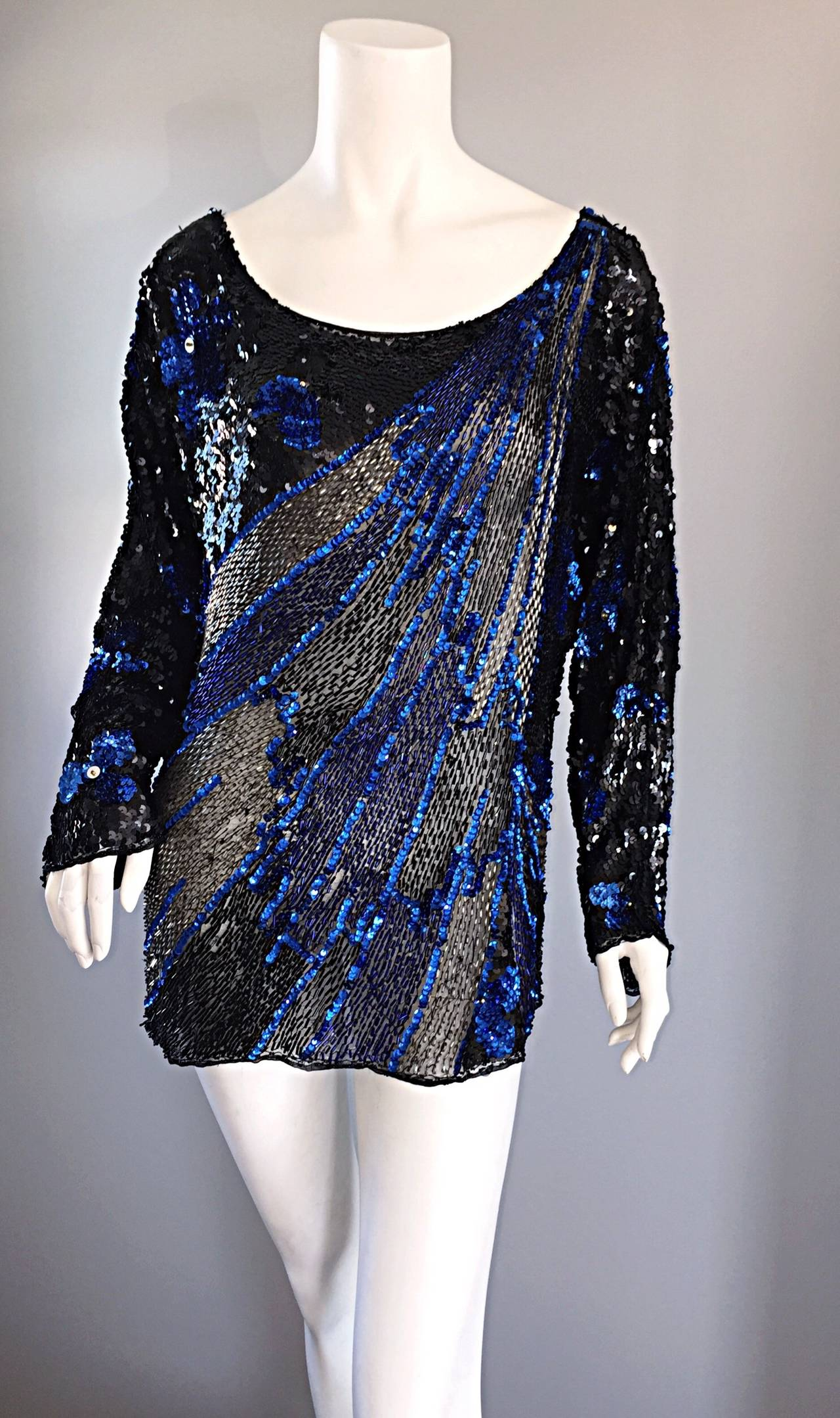Black + Blue Sequined and Beaded Silk Fireworks & Flowers Top Attr. to Halston 2