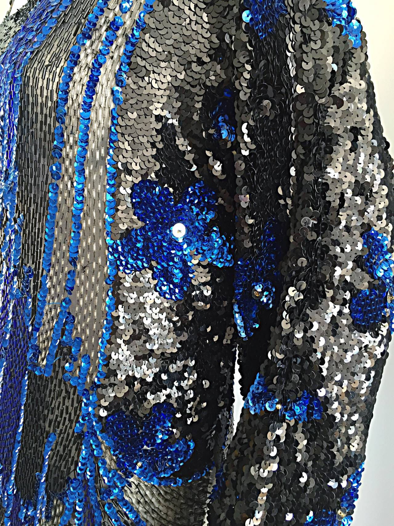 Black + Blue Sequined and Beaded Silk Fireworks & Flowers Top Attr. to Halston 3
