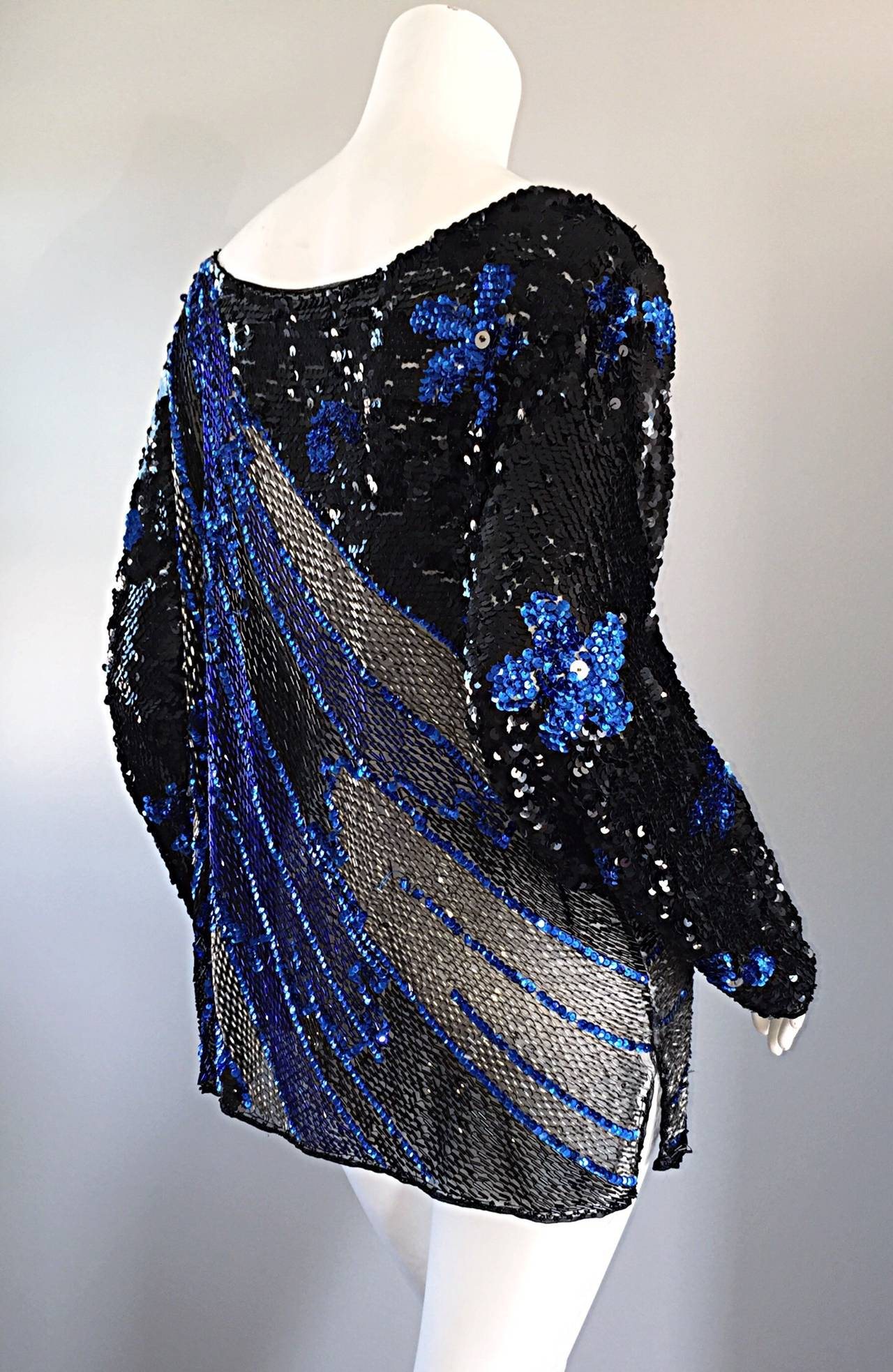 Women's Black + Blue Sequined and Beaded Silk Fireworks & Flowers Top Attr. to Halston For Sale