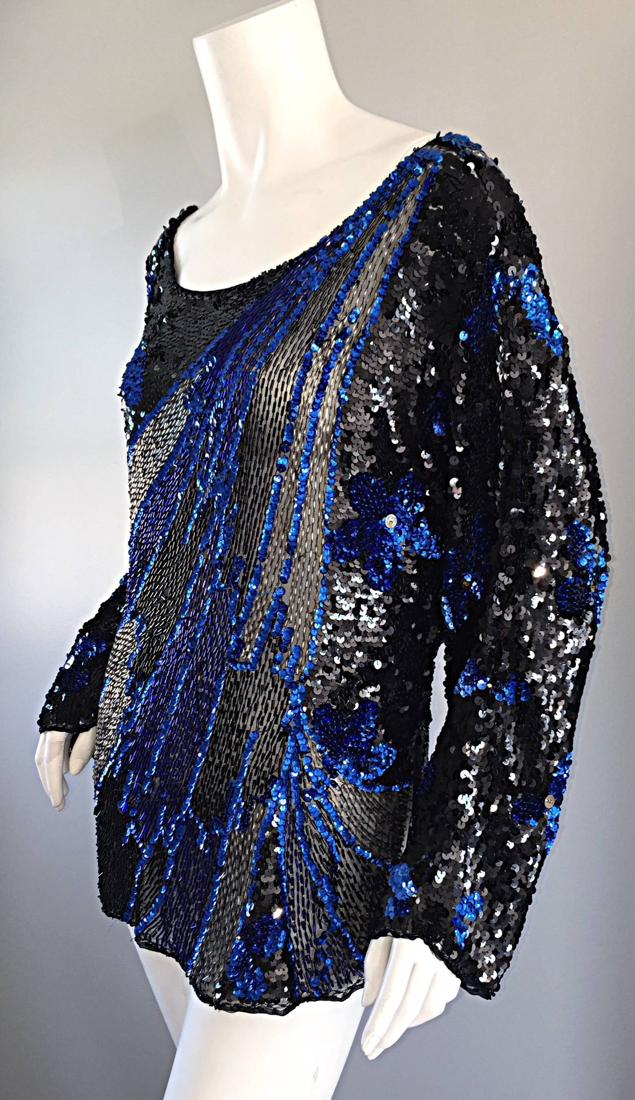 Black + Blue Sequined and Beaded Silk Fireworks & Flowers Top Attr. to Halston 5