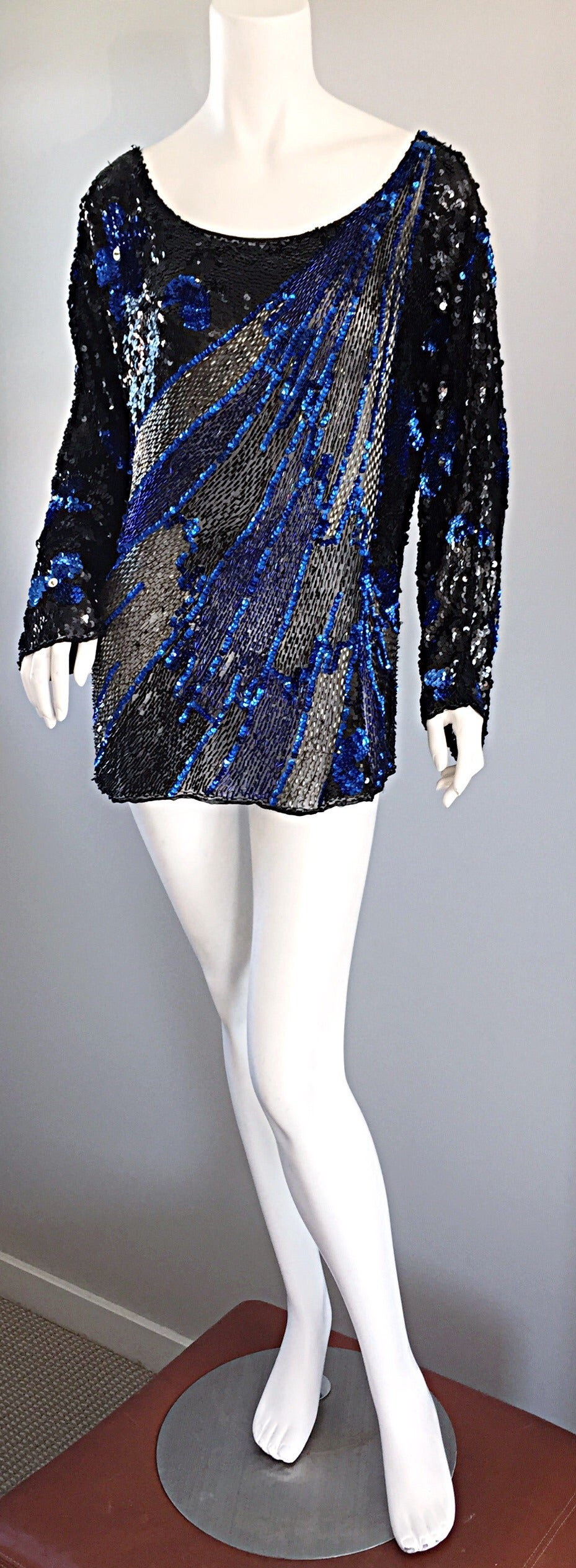 Black + Blue Sequined and Beaded Silk Fireworks & Flowers Top Attr. to Halston 6