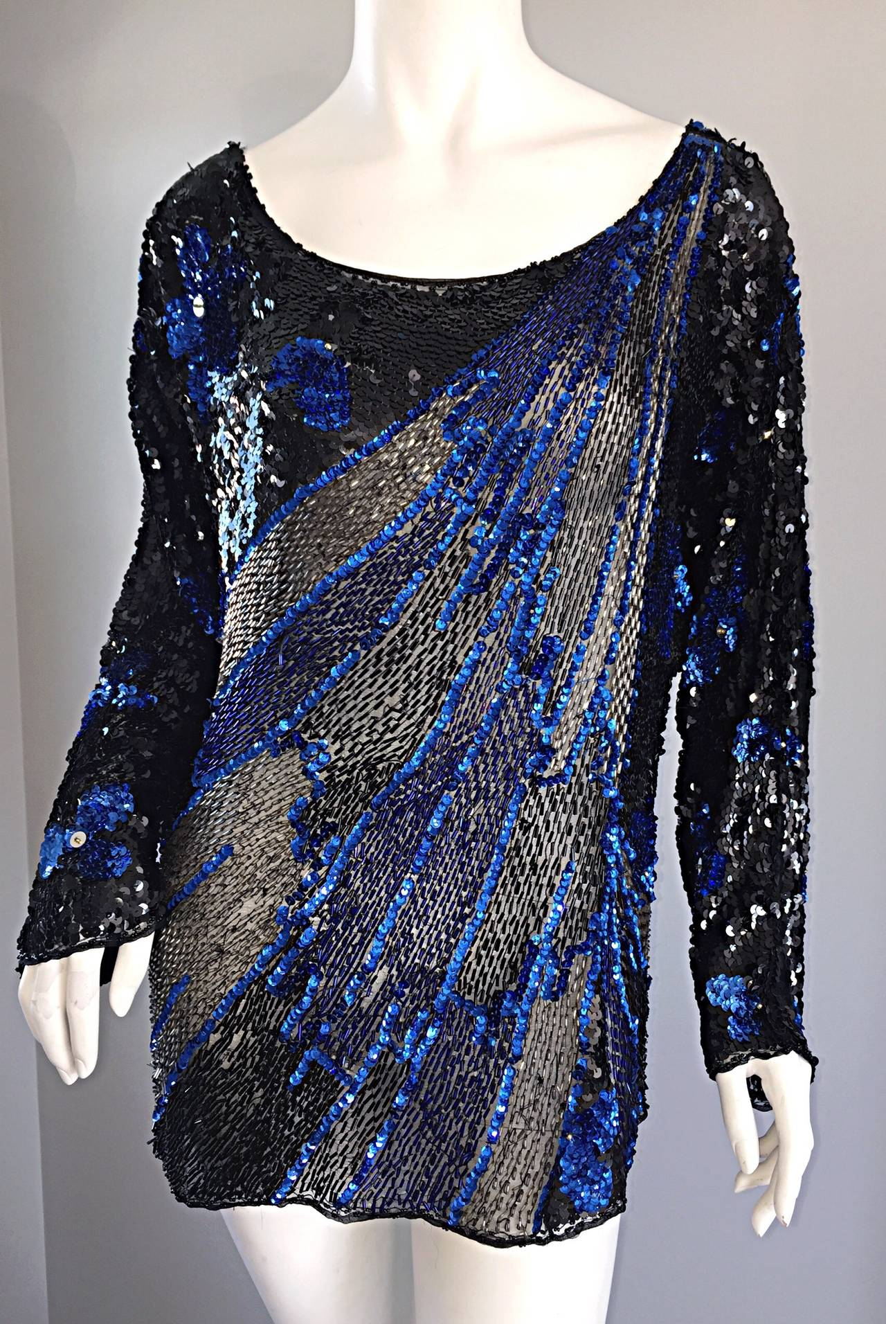 Black + Blue Sequined and Beaded Silk Fireworks & Flowers Top Attr. to Halston 8